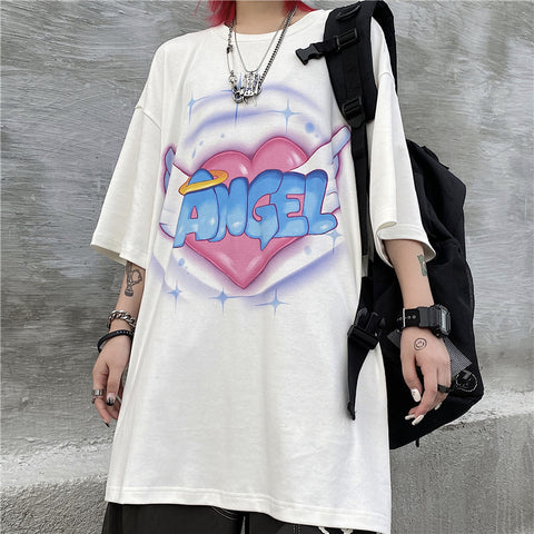 HEART ANGEL WINGS PRINT TEE