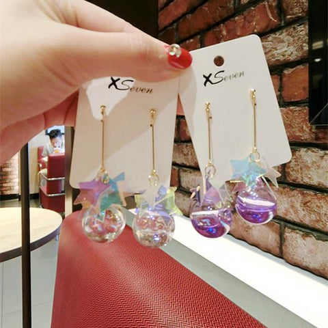 STAR SHINY GLASS BALL EARRINGS