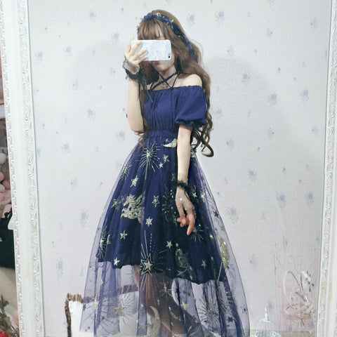 DREAM STARRY NET YARN LONG DRESS