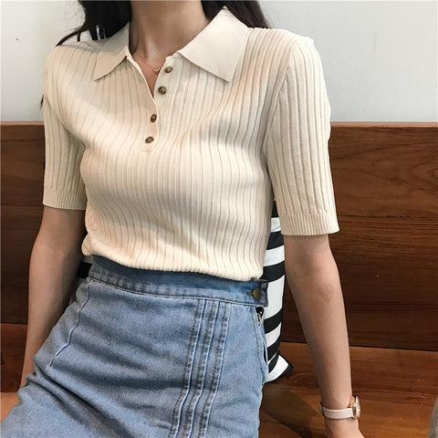 VINTAGE LAPEL SHORT SLEEVE KNIT T-SHIRT