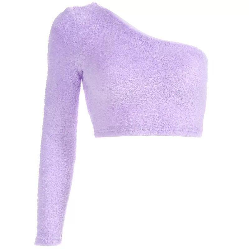 PURPLE FURRY CROP TOP