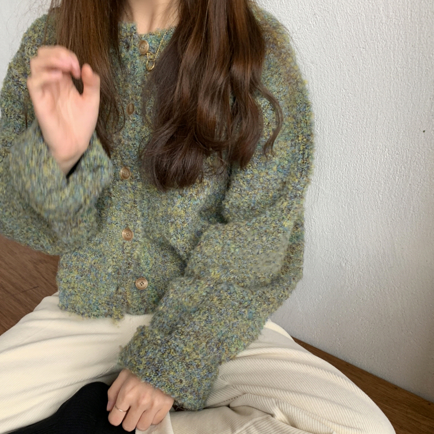MIXED GREEN ROUND NECK SWEATER CARDIGAN