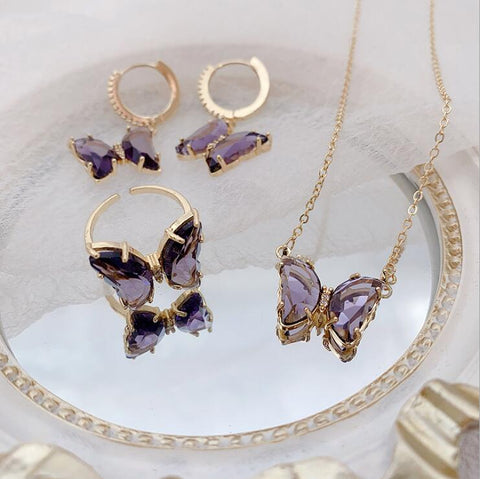 AMETHYST BUTTERFLY THREE-PIECE SET