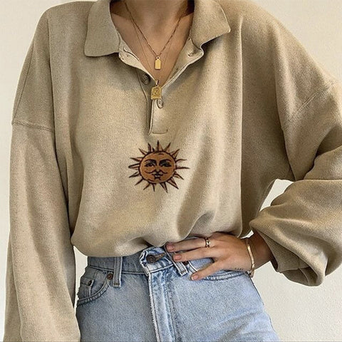 SUN EMBROIDERED HALF-COLLAR SWEATSHIRT