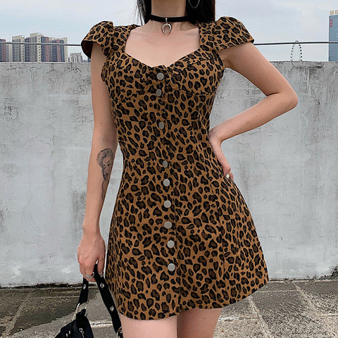LEOPARD PRINT SINGLE BREASTED DRESS