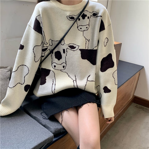 CARTOON COW SWEATER