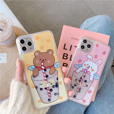 MILK TEA BUNNY/BEAR IPHONE CASE (I7-I11 PRO MAX)
