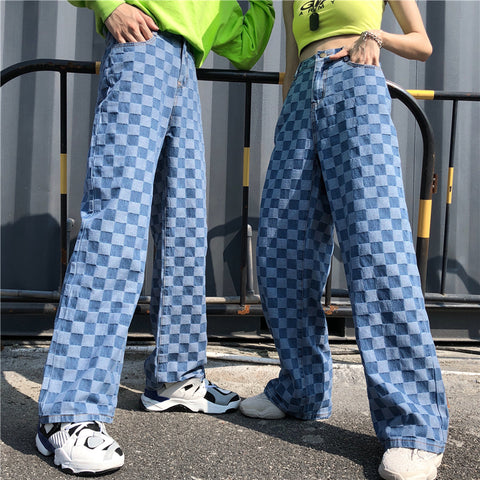 RETRO PLAID WASHED DENIM STRAIGHT PANTS