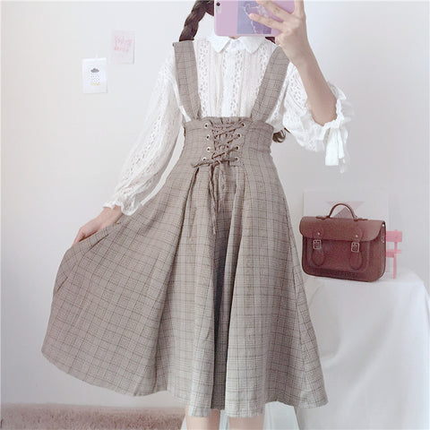 WHITE LACE SHIRT OR PLAID LACE-UP WAIST STRAP DRESS