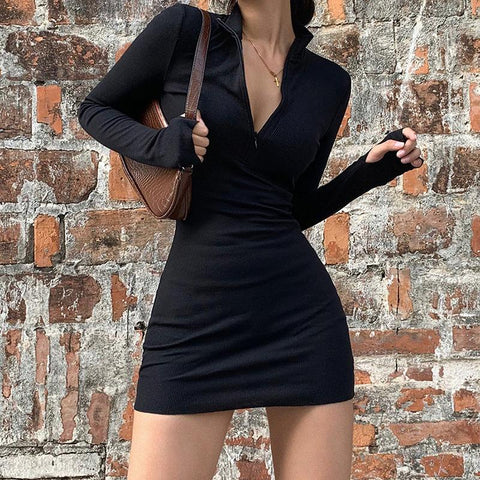 ZIP GLOVES SLEEVE DRESS