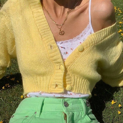 YELLOW V-NECK KNITTED CARDIGAN