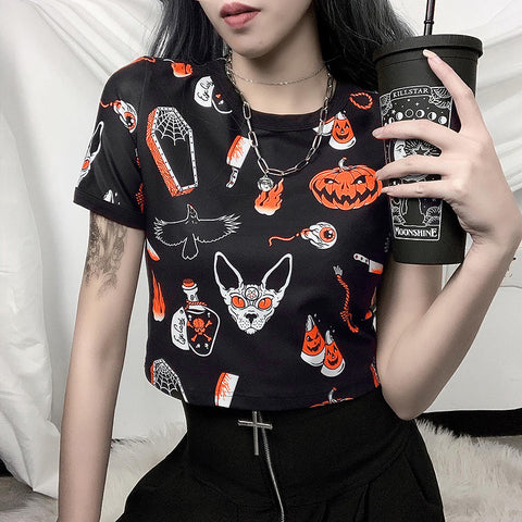 HALLOWEEN PRINT CROP TOP