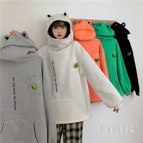 FROG PULLOVER ZIPPER HOODED SWEATER