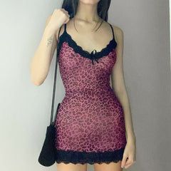 LEOPARD PRINT LACE TRIM A-LINE DRESS