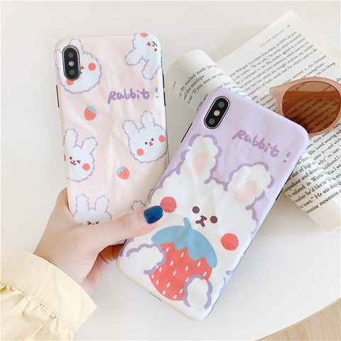 KAWAII STRAWBERRY RABBIT PHONE CASE