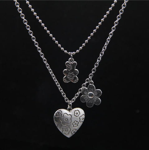HEART FLOWER BEAR PENDANT NECKLACE SET