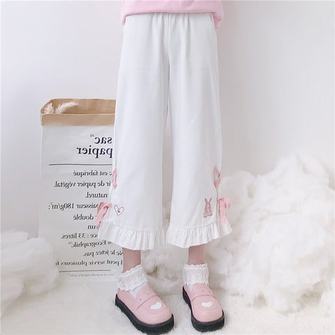 LOLITA BUNNY HEART EMBROIDERED PANTS