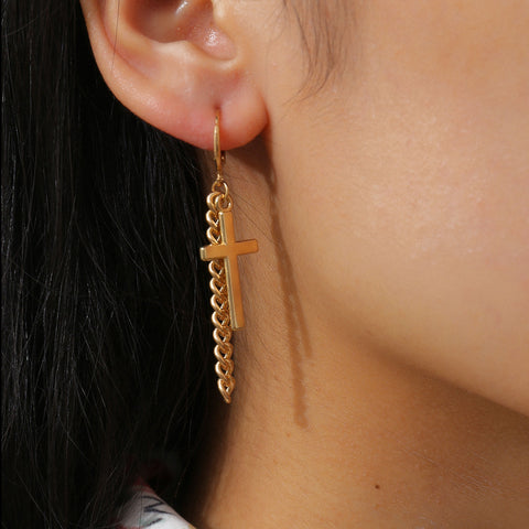 CROSS TASSEL CHAIN EARRINGS