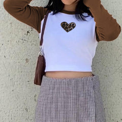 LEOPARD HEART RAGLAN CROP TOP