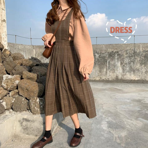 CORDUROY PUFF SLEEVE SHIRT OR PLAID VEST DRESS