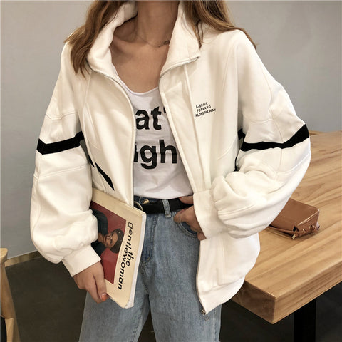 CONTRAST COLOR BAT SLEEVE JACKET