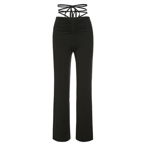 BLACK TIE UP LOW RISE PANTS