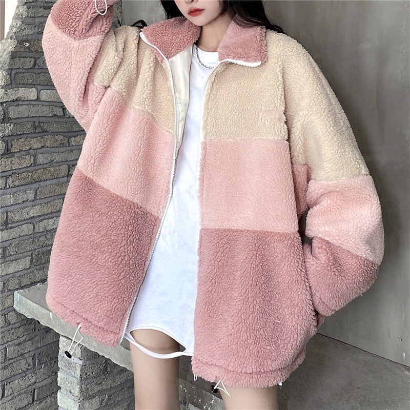 THREE-COLOR PANELED LAMBSWOOL JACKET