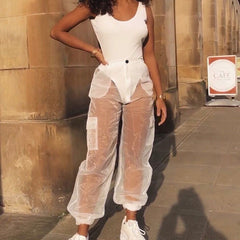 TRENDY MESH SEE THROUGH TROUSERS