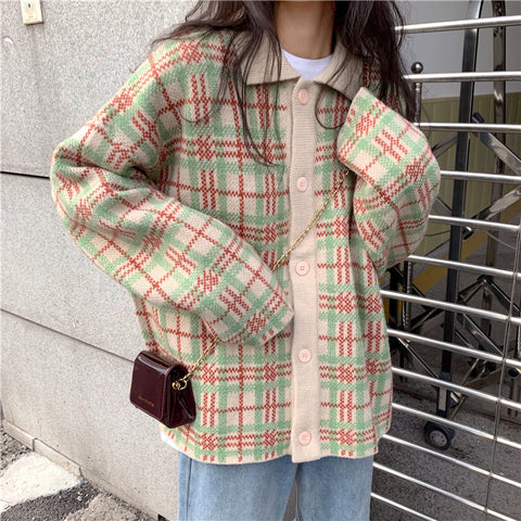 RETRO CHECK POLO COLLAR KNIT CARDIGAN