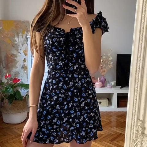 BLUE LITTLE BUTTERFLY FLORAL BOW TIE DRESS