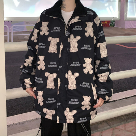 BEAR PRINT FURRY DOUBLE-SIDED COTTON JACKET