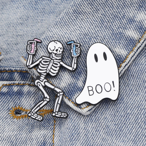 SKELETON GHOST BOO BROOCH (SET/2PCS)
