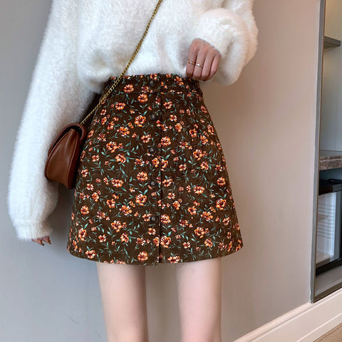 FLORAL CORDUROY A-LINE SKIRT