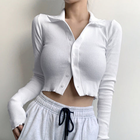 WHITE LAPEL LONG SLEEVE CARDIGAN TOP
