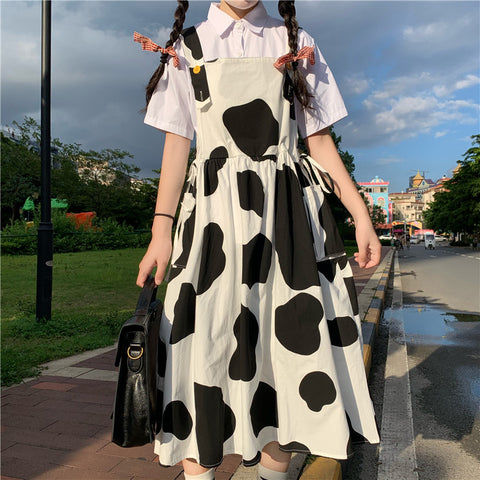 JAPANESE COW PRINT STRAP DRESS