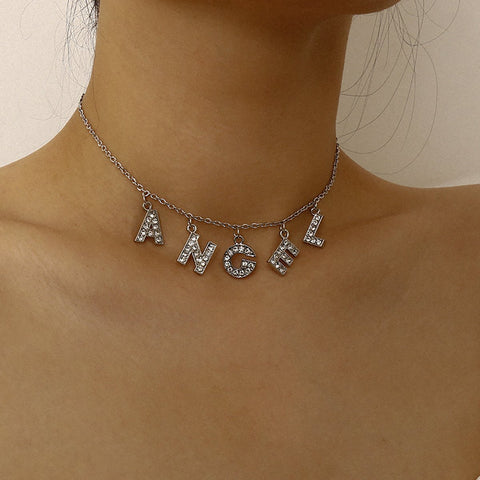 ANGEL RHINESTONE CHOKER NECKLACE