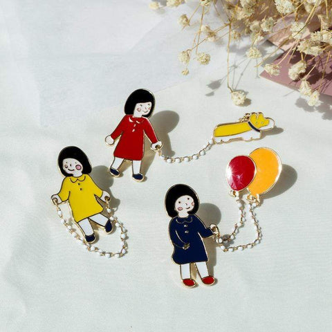 CARTOON LITTLE GIRL PINS (SET/3PCS)