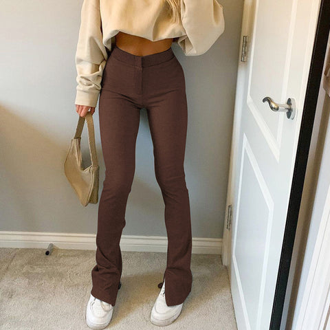 SIDE SLIT SLIM CASUAL PANTS