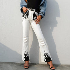 FASHION FLAME PRINT FLARE PANTS
