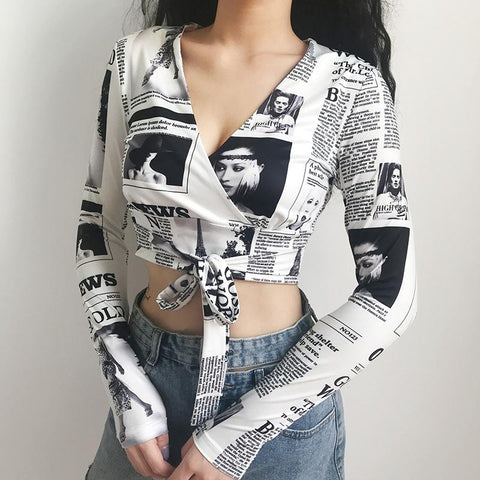 NEWS PRINT WRAP CROP TOP