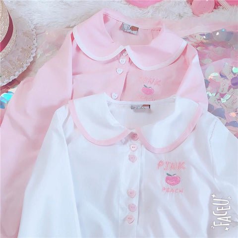 PINK PEACH EMBROIDERED DOLL COLLAR SHIRT