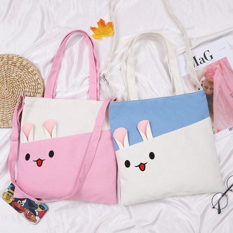 KAWAII SMILE EAR CANVAS BAG