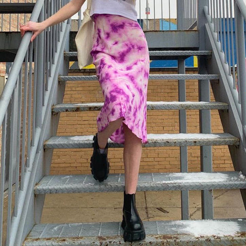 PURPLE TIE-DYE MIDI SKIRT