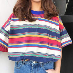 COLORED RETRO STRIPE TEE