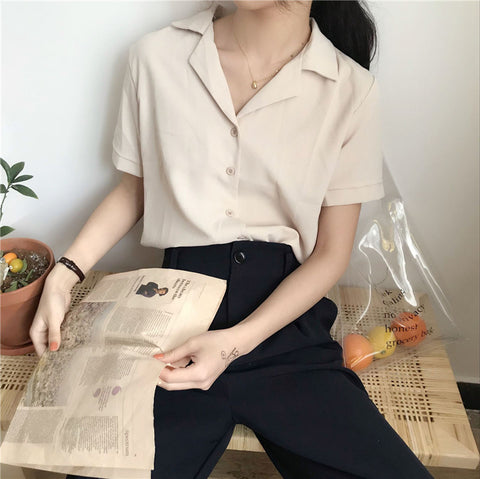 SOLID COLOR SUIT COLLAR CHIFFON SHORT SLEEVE SHIRT