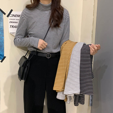 STRIPED HIGH NECK LONG SLEEVE BOTTOMING SHIRT