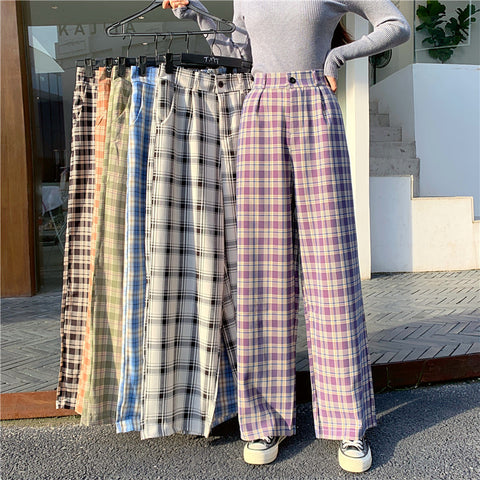 PLUS SIZE CASUAL PLAID PANTS