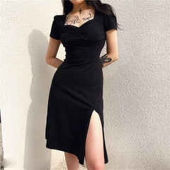 VINTAGE FRENCH SLIT LONG DRESS