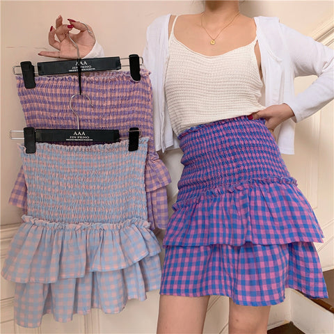 HIGH WAIST PLAID CAKE SKIRT
