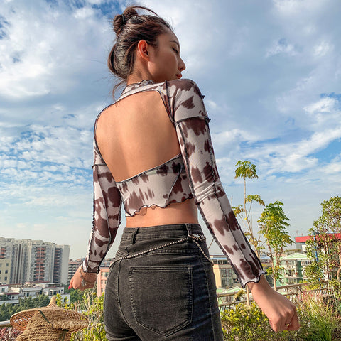FASHION OPEN BACK LONG SLEEVE MESH TOP